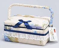 """Шкатулка для рукоделия """"Весна в Париже Beige with Blue"""", 21.5x16x10.5см"""