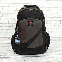 Вместительный рюкзак SwissGear Wenger, свисгир. Черный с серым. + Дождевик. 35L / s7650 grey Vsem
