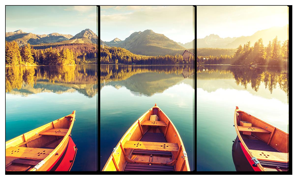 Модульная картина Interno Эко кожа Три лодки на озера 144x82см(A3823XL)