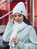 Комплект з шапки-ковпак і шарфа великої в'язки в сірому кольорі, фото 6