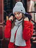 Комплект з шапки-ковпак і шарфа великої в'язки в сірому кольорі, фото 5