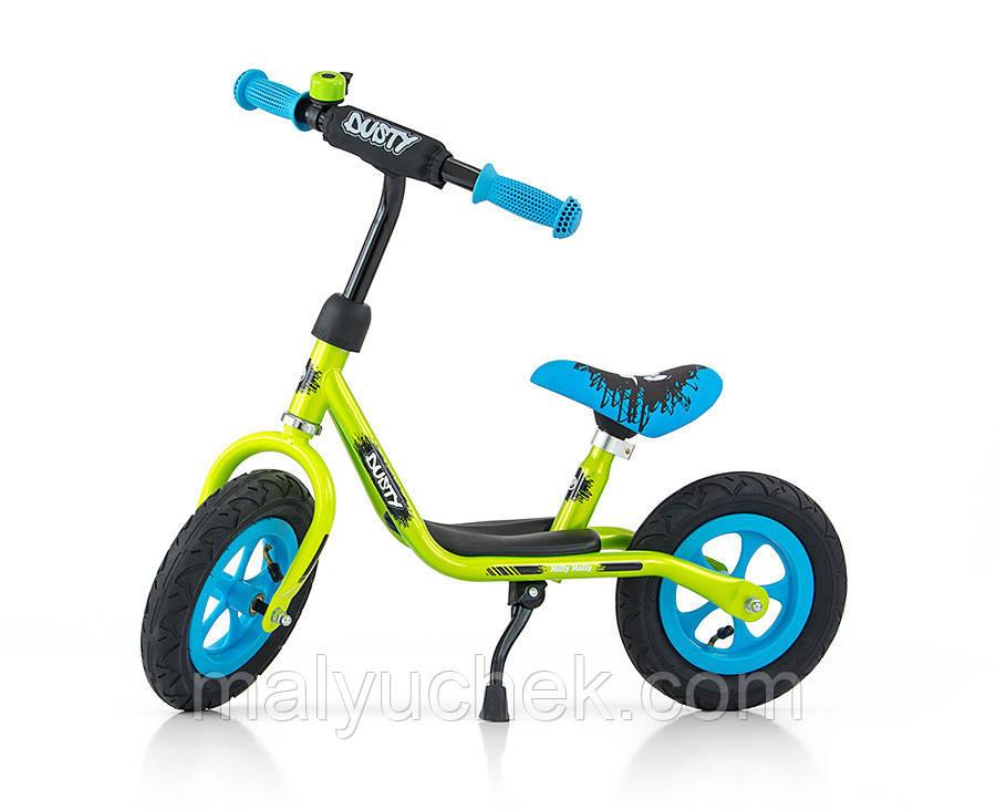 Беговел milly mally dusty надувные колеса 10 дюймов, звонок, подножка blue-green