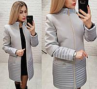 Пальто, арт 137, ткань эко-кашемир + плащевка, цвет серый