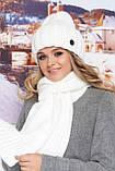 Комплект з шапки-ковпак і шарфа великої в'язки в сірому кольорі, фото 7