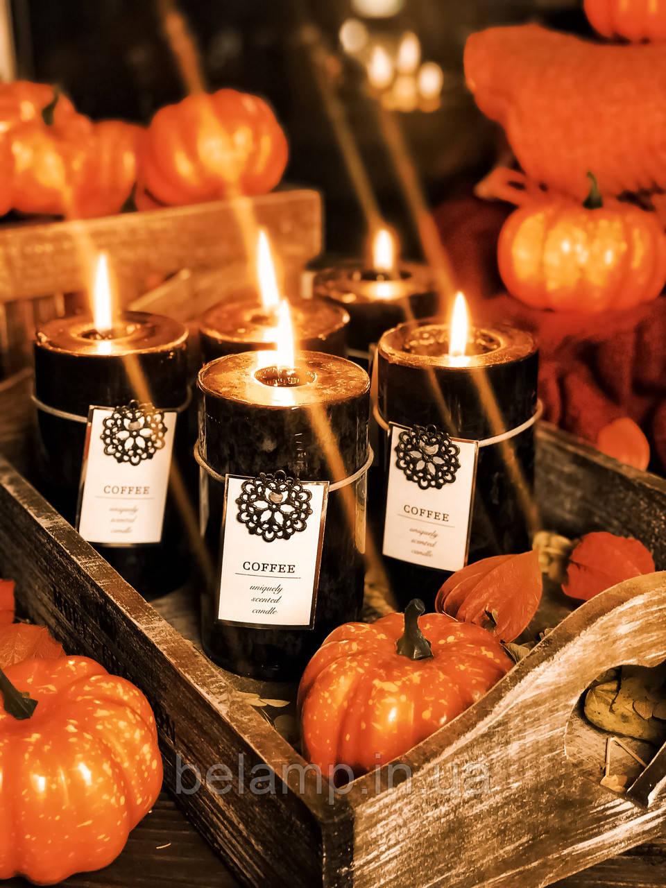 """Чёрная свеча на Хэллоуин «Осенний кофе"""""""