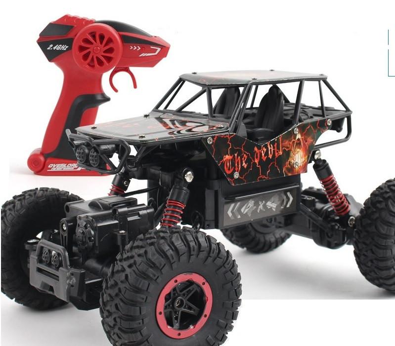 Джип на радио управлении машинка внедорожник модель Rock Crawler черный с красным 1:18