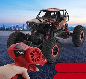 Джип на радио управлении машинка внедорожник модель Rock Crawler черный с красным 1:18, фото 2