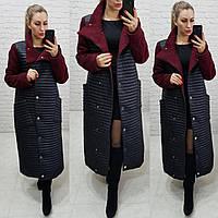 Куртка - пальто, арт 138, цвет черное с бордовыми вставками