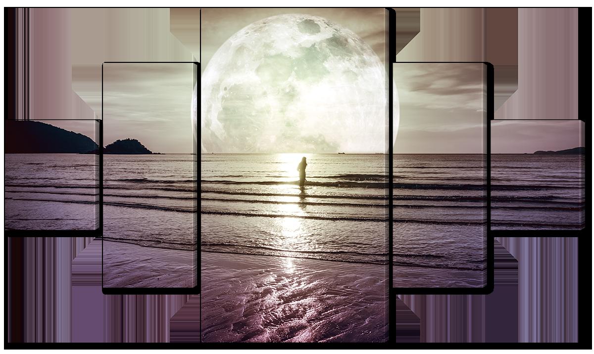 Модульная картина Interno Эко кожа Человек на фоне большой луны 152х85см (A3839L)