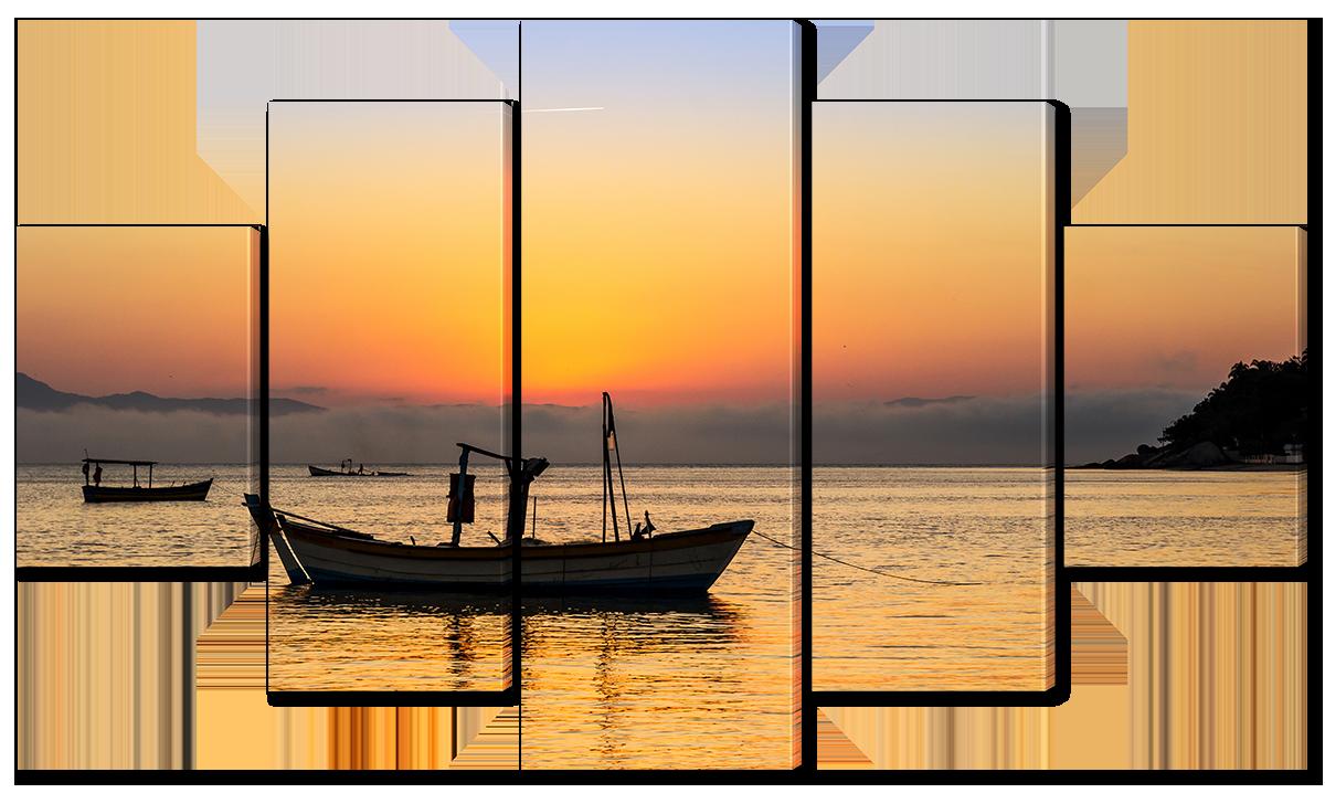 Модульная картина Interno Холст Рыболовные лодки на закате 123х69см (R3855M)