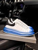 Кроссовки Alexander McQueen white/ blue lux Александр маквин
