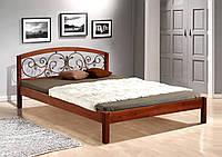 Кровать Джульетта с кованым изголовьем 160-200 см (темный орех)