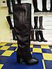 Элегантные женские кожаные зимние сапожки на каблуке