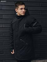 Парка зимняя мужская Staff look black теплая куртка черная