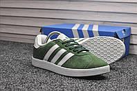Кроссовки Adidas Gazelle мужские, зеленые, в стиле Адидас Газель, Замша 100% прошиты, код TD-8942