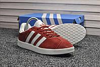 Кроссовки Adidas Gazelle мужские, красные, в стиле Адидас Газель, Замша 100% прошиты, код TD-8941