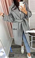 Женское пальто евро зима кашемир на синтепоне на запах бутылка серое черное бордовое 42-44, 44-46, фото 1