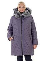 Зимняя куртка с мехом песца от производителя 56-70 р лилового цвета