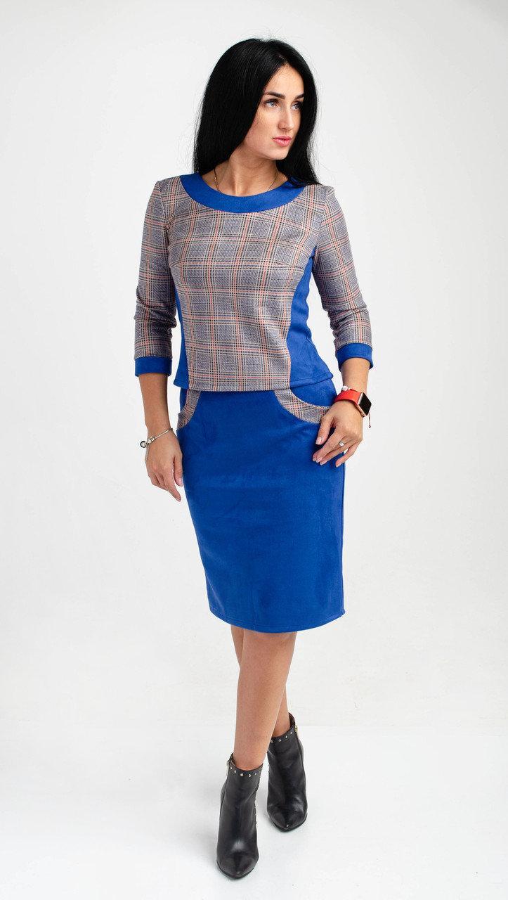 Женский юбочный костюм  из турецкой ткани замша цвета электрик