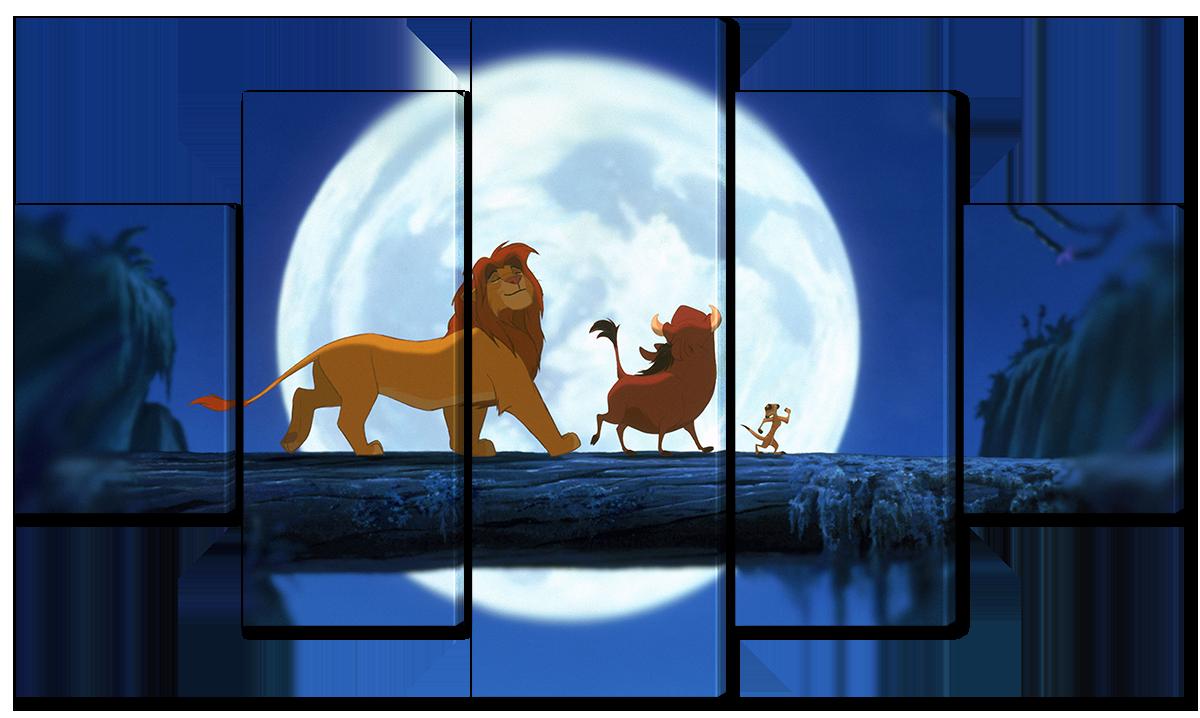 Модульная картина Interno Эко кожа Король лев, Тимон и Пумба 108х60см (A4500S)