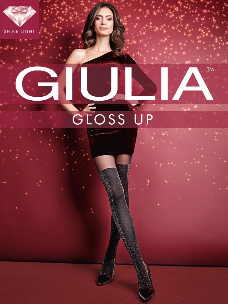Фантазийные колготки имитация чулка с люрексом Giulia Gioss up 60 den
