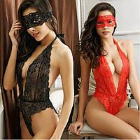Женское эротическое белье красное комплект с маской, боди 11129п-а