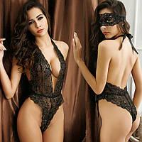 Женское эротическое белье черное комплект с маской, боди 11129п-б