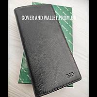 Тонкий шкіряний гаманець купюрник на магнітах з великою кількістю відділень для карток