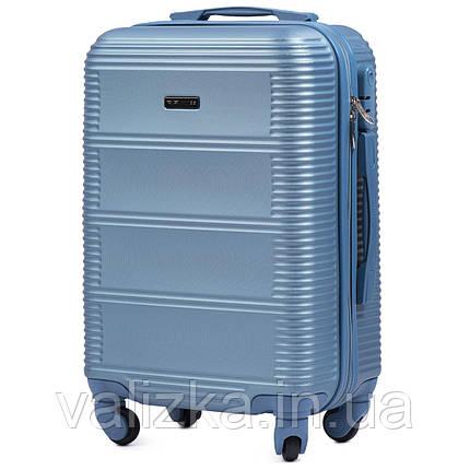 Чемодан из поликарбоната малый ручная кладь Wings 203 на 4-х колесах голубой, фото 2