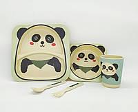 Набор детской посуды из бамбука, бамбуковая посуда