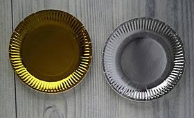 Тарелки бумажные одноразовые. Набор 10 шт. золото серебро малая 5-294 98474