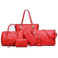Набор женских сумок Mei&Ge 6 предметов красного цвета 01182
