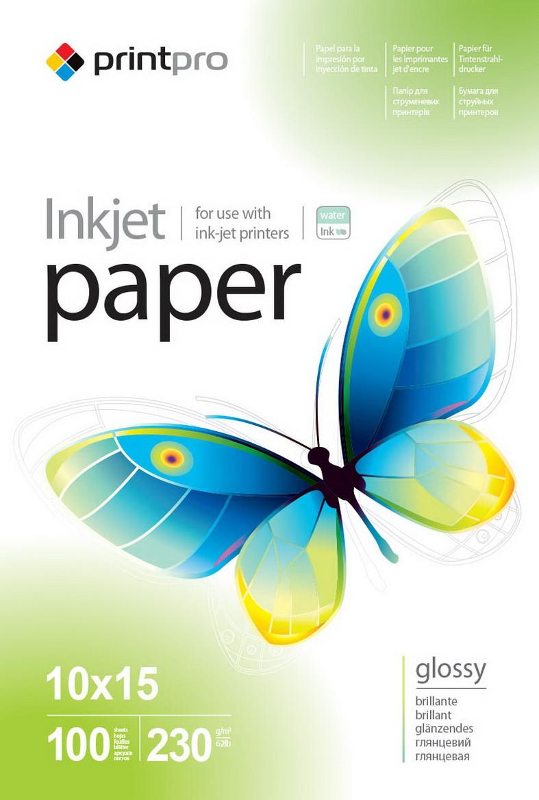 Фотобумага PrintPro, глянцевая, A6 (10x15), 230 г/м2, 100 л (PGE2301004R)