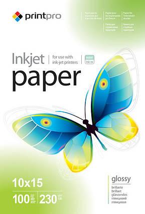 Фотобумага PrintPro, глянцевая, A6 (10x15), 230 г/м2, 100 л (PGE2301004R), фото 2
