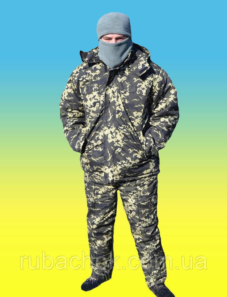 Комплект армейский зимний бушлат на меху + утепленные штаны на флисе + шапка., фото 1