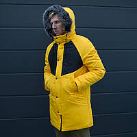 """Парка зимняя мужская """"Taranis"""" от бренда """"ТУР"""" желтая куртка теплая с черными вставками"""
