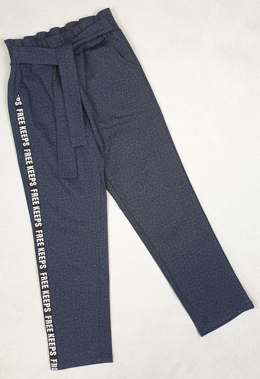 Брюки  для девочки с завышенной талией 128-146 джинс