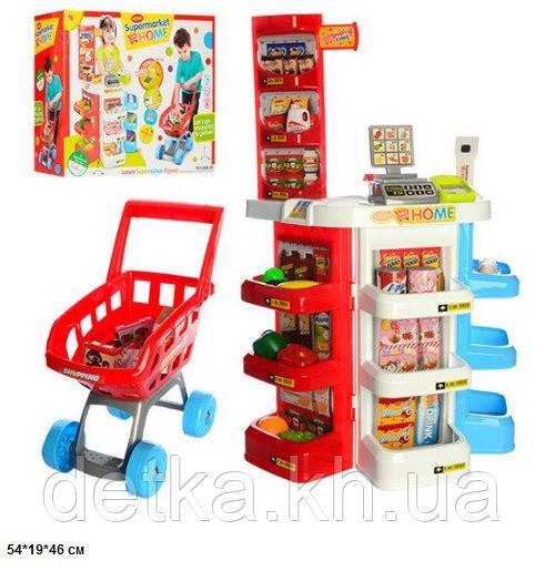 Магазин 668-20 касса с продуктами,тележка батар.муз.свет.кор.
