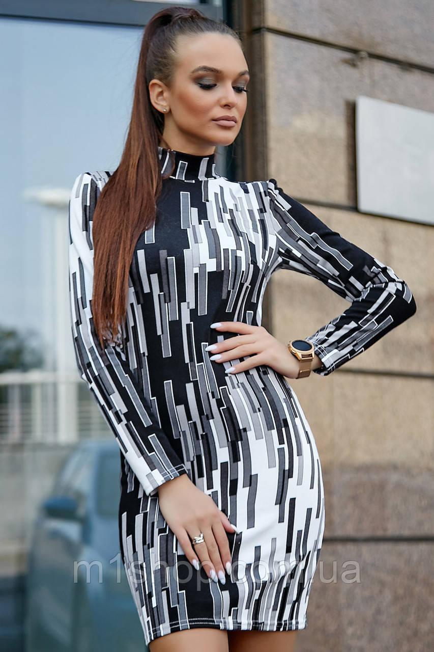Женское облегающее платье с геометрическим принтом (1241.3779 svt)