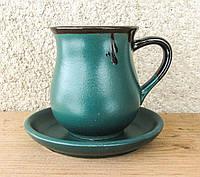 Горнятко чайне з блюдцем зелене