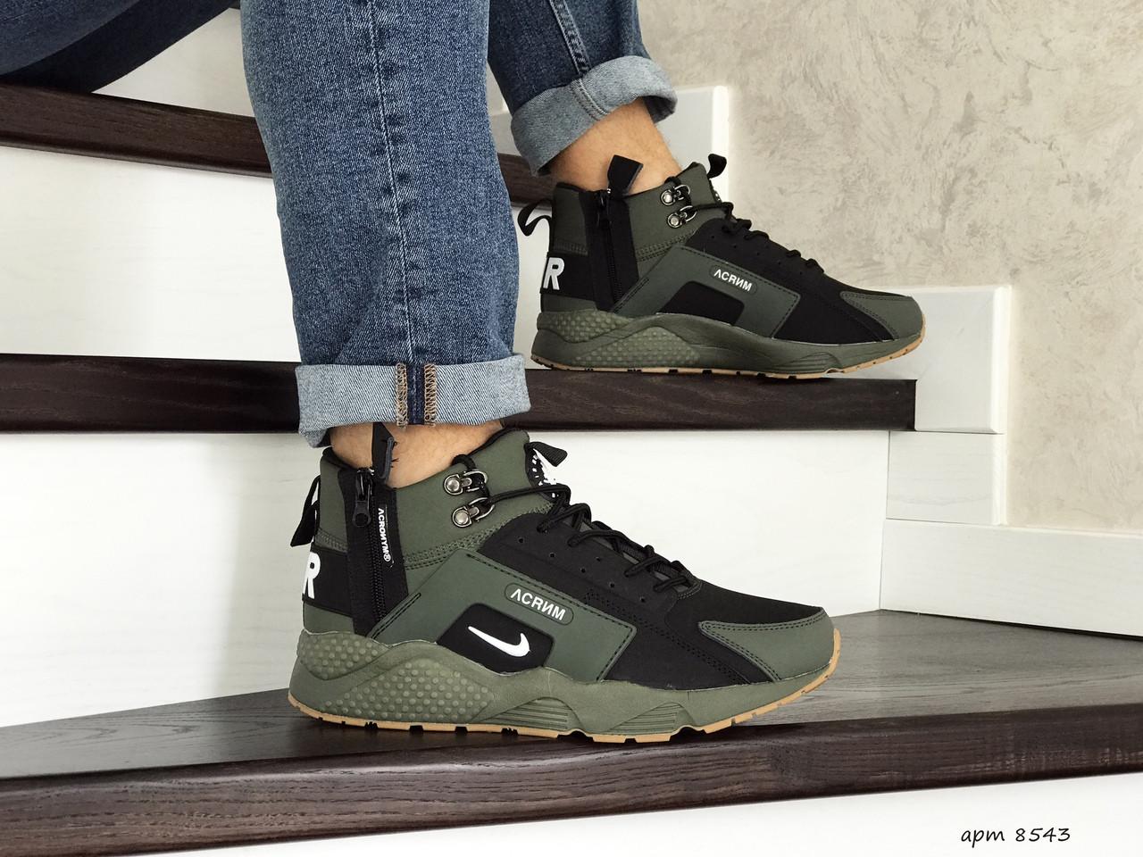Зимние кроссовки Nike Huarache (темно-зеленые)