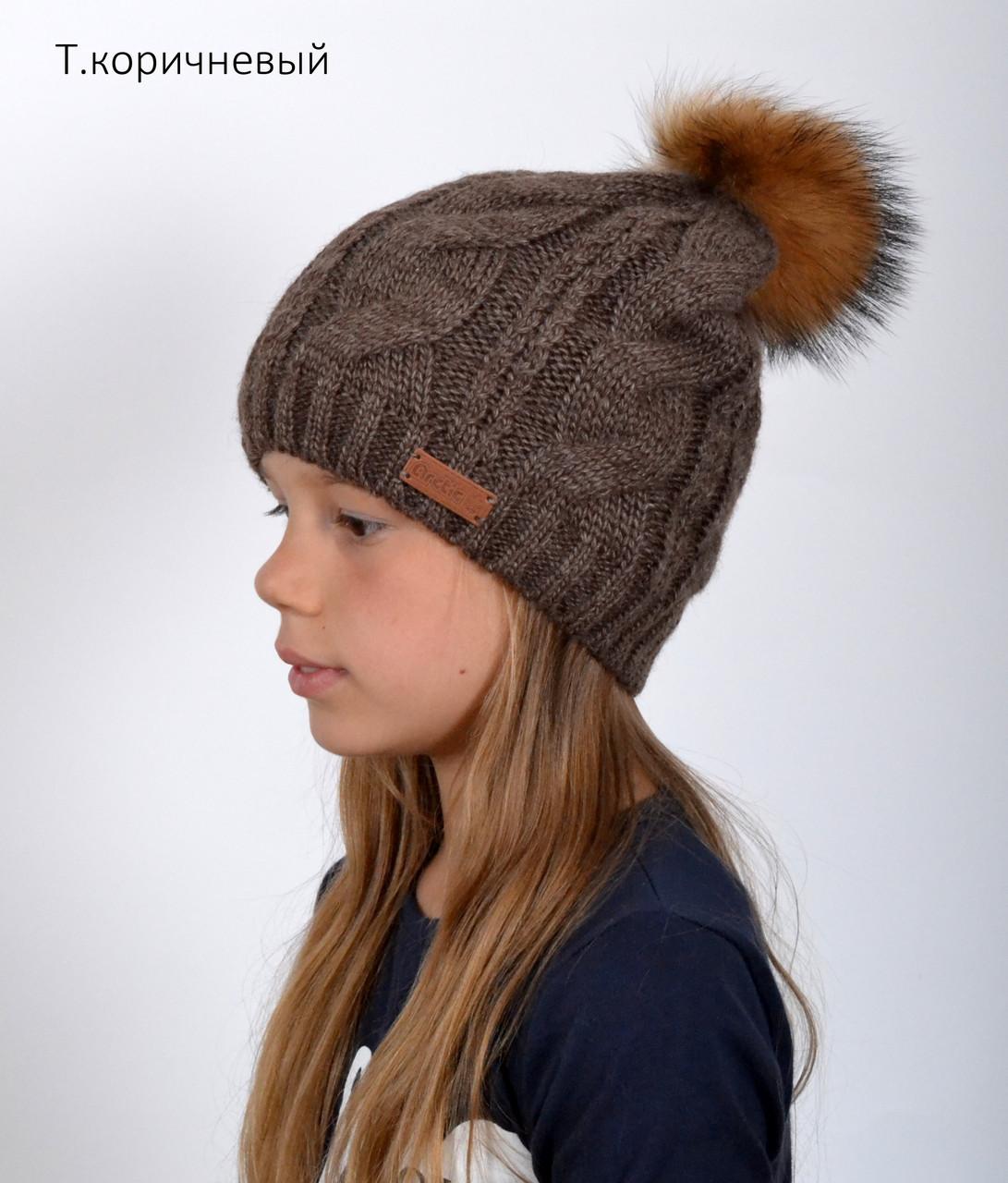 Жіноча в'язана шапка з помпоном з натурального хутра