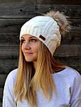 Жіноча в'язана шапка з помпоном з натурального хутра, фото 2