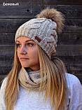 Жіноча в'язана шапка з помпоном з натурального хутра, фото 4