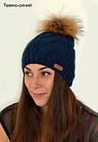 Жіноча в'язана шапка з помпоном з натурального хутра, фото 9