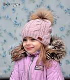 Жіноча в'язана шапка з помпоном з натурального хутра, фото 10