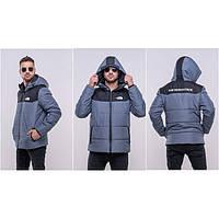 Мужская зимняя теплая куртка The North Face джинсового цвета