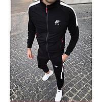 Теплый мужской спортивный костюм Найк черного цвета