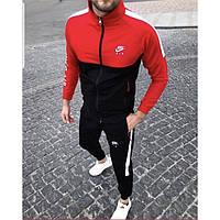 Теплый мужской спортивный костюм Найк красно-черного цвета