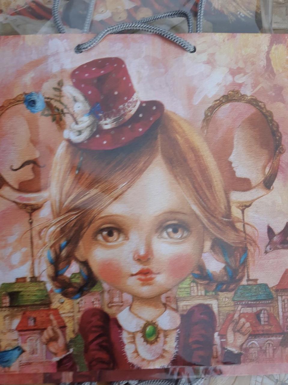 Подарочный детский бумажный пакет КВАДРАТ ''Девочка'' (24*24*10)